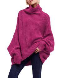 Free People Swim Too Deep Turtleneck Sweater - Pink