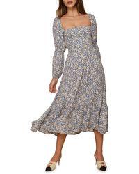 Reformation Floral Long Sleeve Midi Dress - Grey