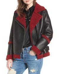 Sam Edelman - Oversize Faux Shearling Moto Jacket - Lyst