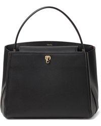 Valextra Medium Brera Leather Top Handle Bag - Black