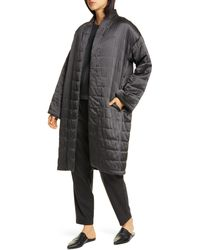 Eileen Fisher Quilted Silk Coat - Gray