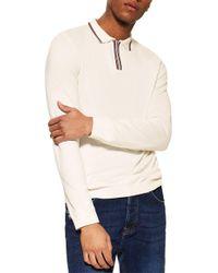 TOPMAN Tipped Zip Long Sleeve Polo - White