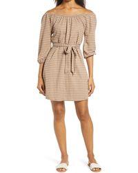 Bobeau Gertrude Stripe Belted Piqué Dress - Natural