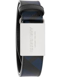 Burberry Plaque Buckle London Check And Leather Belt - Black