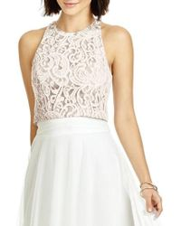 Dessy Collection - Lace Halter Style Crop Top - Lyst