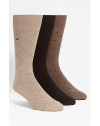 Calvin Klein - 3-pack Patterned Socks, Beige - Lyst