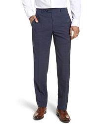 Santorelli - Flat Front Solid Wool Trousers - Lyst