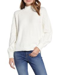 Caslon Caslon Mix Stitch Turtleneck Sweater - White