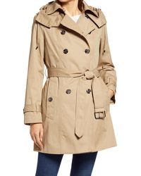 London Fog Heritage Silver Button Water Repellent Raincoat - Natural