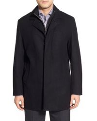 Cole Haan - Wool Blend Top Coat With Inset Knit Bib - Lyst