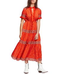 Free People - Rare Feeling Printed Gauze Maxi Dress - Lyst