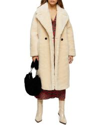 TOPSHOP Petite Cream Maxi Length Borg Coat - Natural