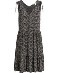 Caslon Caslon Print Ruched Shoulder Dress - Black