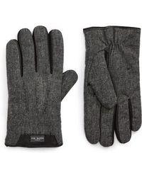 Ted Baker - Slick Leather Trim Gloves - Lyst