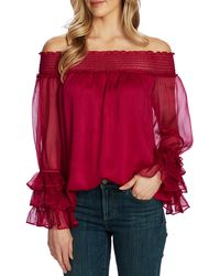 Cece Off The Shoulder Ruffle Cuff Blouse - Red