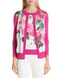 St. John Jersey & Silk Cardigan - Pink