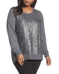 Foxcroft - Pixie Metallic Lace Panel Sweater - Lyst