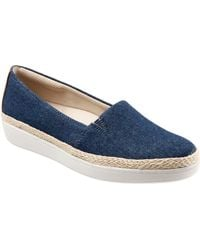 Trotters Accent Fabric Espadrille Slip Ons - Blue