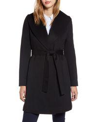 Fleurette Shawl Collar Cashmere Wrap Coat - Black