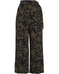 Chelsea28 Floral Print Crop Wide Leg Pants - Black