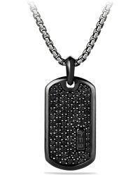 David Yurman Men's Titanium & Sterling Silver Pave Tag With Black Diamonds
