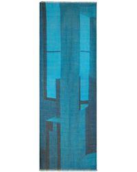 Akris Window Print Cashmere & Silk Scarf - Blue