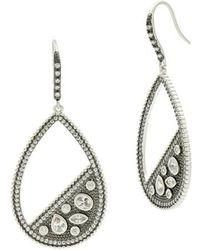 Freida Rothman - Industrial Finish Pave Open Teardrop Earrings - Lyst