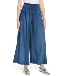 La Vie Rebecca Taylor - Wide Leg Tissue Denim Pants - Lyst