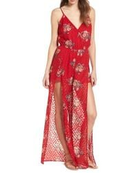 Band Of Gypsies - Split Leg Surplice Jumpsuit - Lyst