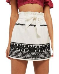 TOPSHOP - Culture Embroidered Paperbag Skirt - Lyst