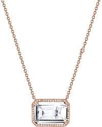 SHAY Deco Eye White Topaz & Diamond Portrait Pendant Necklace - Metallic