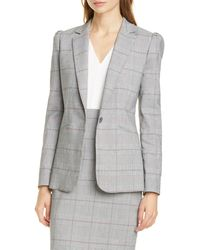 TAILORED BY REBECCA TAYLOR - Summer Check Puff Sleeve Linen Blend Suit Jacket - Lyst