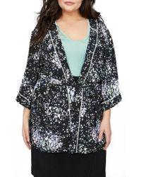 Michel Studio Print Kimono Jacket - Black