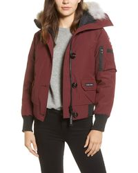 Canada Goose Chilliwack Fusion Fit 625 Fill Power Down Bomber Jacket With Genuine Coyote Fur Trim - Black