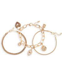 BP. Set Of 3 Charm Chain Bracelets - Metallic