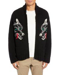 YMC - Wolf Cardy Zip Wool Sweater - Lyst