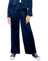 TOPSHOP Satin Wide Leg Pants - Blue