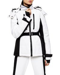 TOPSHOP white And Black Colour Block Ski Jacket By Sno
