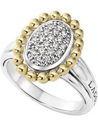 Lagos - Diamond Caviar Oval Ring - Lyst