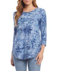 Karen Kane Tie-dye Paisley Jacquard Shirttail Tee - Blue