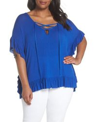 Sejour - Flouncy Lace-up Tee - Lyst