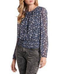 1.STATE 1. State Floral Smock Waist Top - Blue