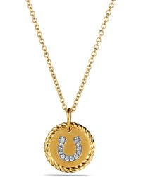 David Yurman - 'cable Collectibles' Horseshoe Charm Necklace With Diamonds In Gold - Lyst