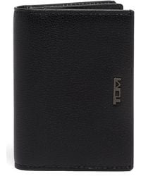 Tumi Gusseted Leather Card Case - Black
