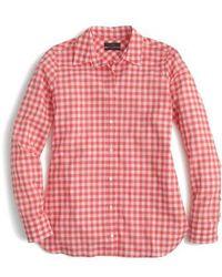 J.Crew | J.crew Crinkle Gingham Boy Shirt | Lyst