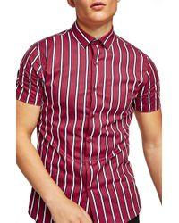 TOPMAN - Muscle Fit Resort Stripe Shirt - Lyst