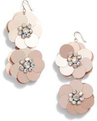 Serefina Sequin Flowers Drop Earrings - Metallic