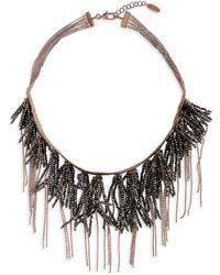 Brunello Cucinelli Monili Fringe Collar Necklace - Brown