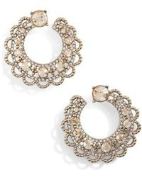 Marchesa - Crystal Swirl Hoop Earrings - Lyst