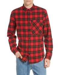 The Rail Plaid Oversize Pocket Sport Shirt - Red